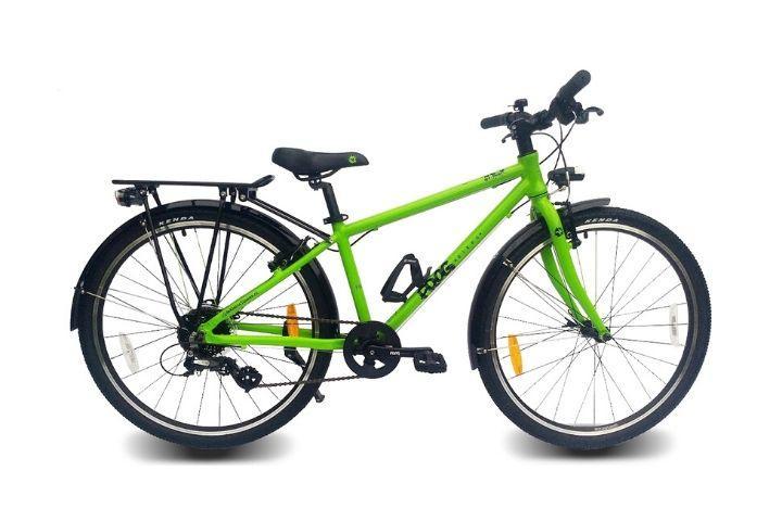lichtgewicht kinderfiets fietsvakantie trektochten fietsen met kinderen trekking fiets frogbikes frog kikker fiets bagagedrager spatborden goed verzet pluspakket