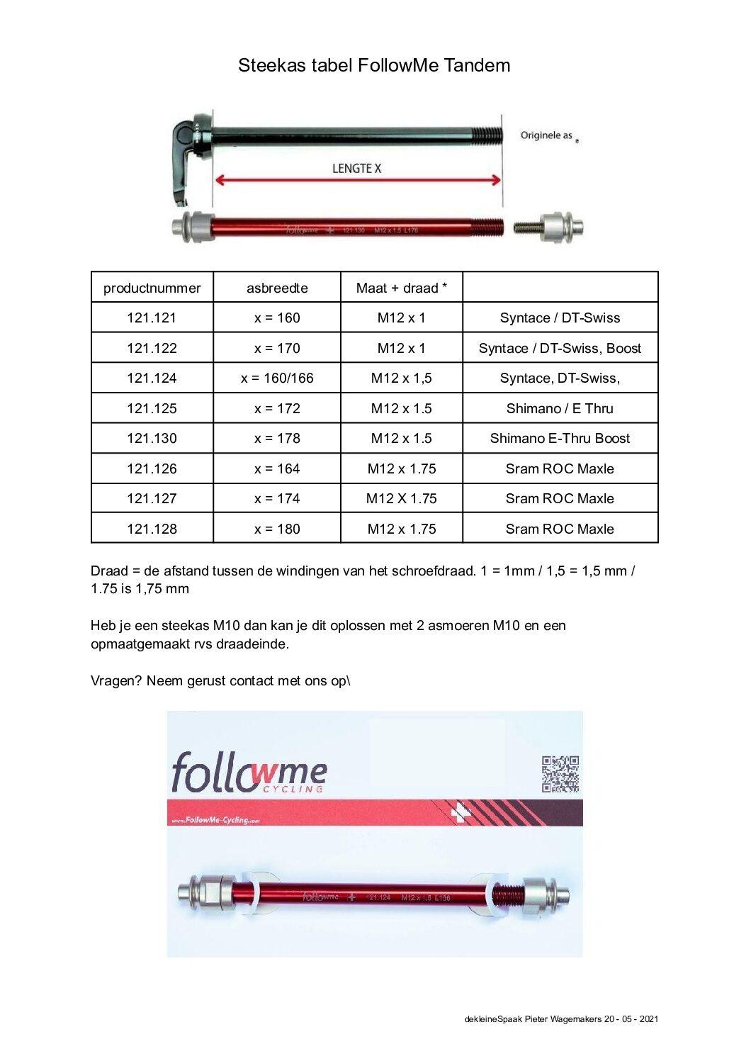Steekas tabel FollowMe Tandem 2 pdf